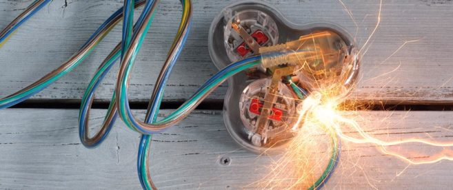 Wires sparking from product malfunction in Greenville, SC