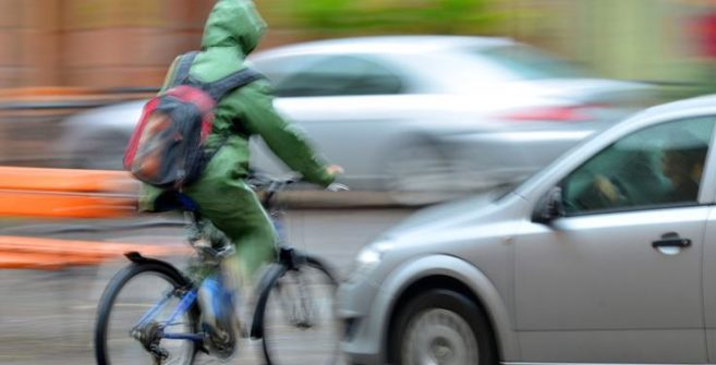 A bicyclist about to be struck by another vehicle in Easley, SC