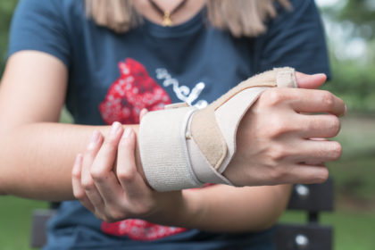 person with broken wrist
